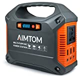 AIMTOM 42000mAh 155Wh Power Station, Emergency Backup Power Supply with Flashlights (Solar Panel Optional), for Camping, Home, CPAP, Travel, Outdoor (110V/ 100W AC Outlet, 3X 12V DC, 3X USB Output)