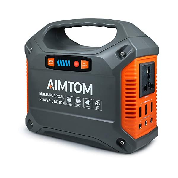 AIMTOM 42000mAh 155Wh Power Station, Emergency Backup Power Supply with Flashlights (Solar Panel Optional), for Camping…