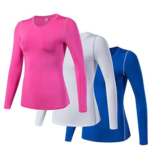 iEventStar Damen-Unterziehshirt, langärmelig, kühl, trocken, 3er-Pack: Rosa, Weiß, Blau, Tag Size XXL (UK/EU Size XL)