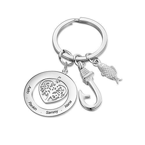 Lovejewellery Personalized Stammbaum Schlüsselanhänger mit 1~6 Namen Gravur Männer Frauen Edelstahl ID Tag Angelhaken Keychain Schlüsselbund für Papa Personalisierte Geschenke