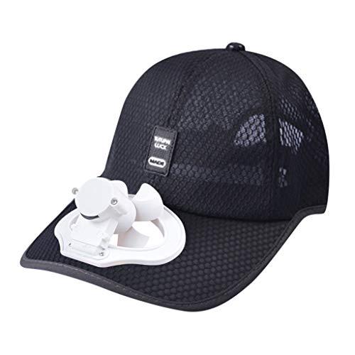 Harpily Estate Outdoor Cappello Raffredda Ventilatore Freddo per Baseball di Golf Sport Cappello Estivi Berretto Traspirante Cappello Casuali con Mini Ventilatore Outdoor per Uomo Donna (Nero)