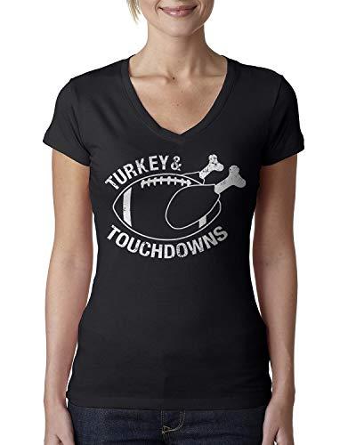 Retta Damen T-Shirt Turkey & Touchdowns V-Ausschnitt - Schwarz - XX-Large