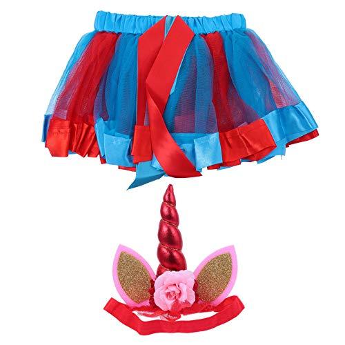VALICLUD Unicornio Tutu Costume Set Unicorn Ballet Tutu Skirt Unicorn Flower Hairband Glitter Ear Diadema para Nias Unicorn Baby Shower Birthday Party Outfit Gift Set (Rojo M)