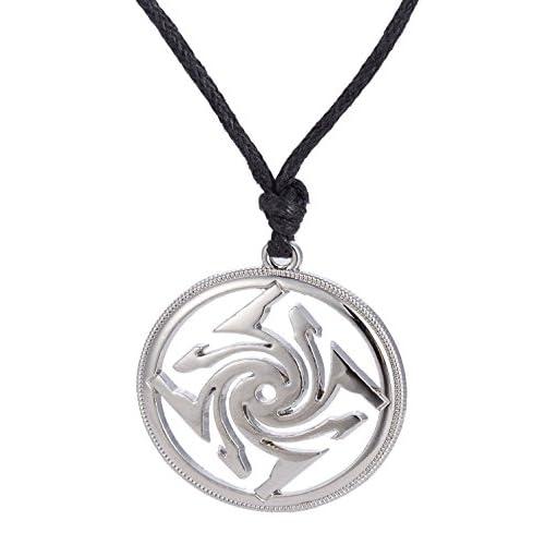Dawapara, collana con ciondolo a forma di amuleto slavo, stile vintage, con simbolo slavo, per uomini e donne e Lega, colore: Tonalità argento.