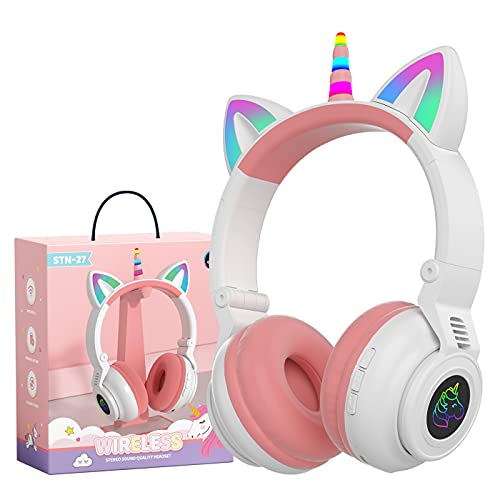 Hisonic - Cuffie Bluetooth per bambini con unicorno e luci colorate per bambini dai 3 anni in su, colore: Bianco
