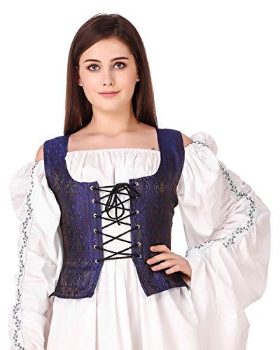 Pirate Wench Peasant Renaissance Medieval Costume Brocade Corset Bodice (Brocade (Fabric# 98)) (Medium)