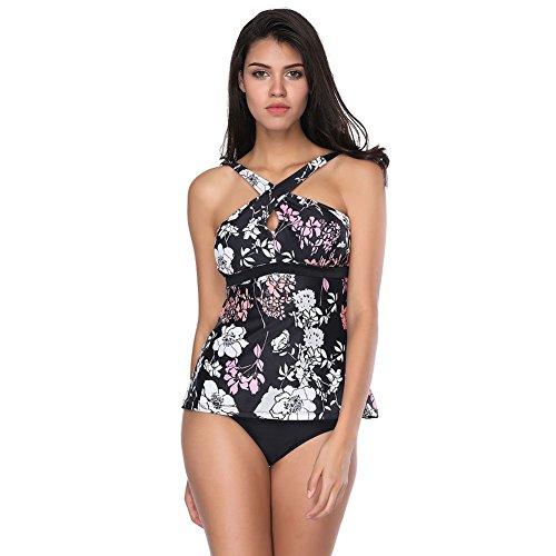 FeelinGirl Donne Sexy Obliquo Fiore Stile Imbottito Costumi da Bagno Bikini Set Monokini