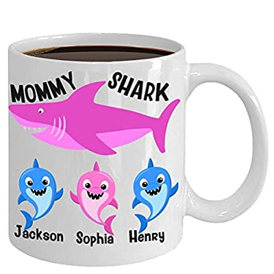 Mommy Shark Mug Gift Personalized for Mom Mother's Day Birthday Christmas Stocking Stuffer, Funny Custom Baby Shark Gifts Coffee Cup
