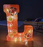 Lampara Letras Luminosas Grandes Con Luces LED y Conexión USB, Altura 15 cm, Letras Decorativas A-Z, Modelo Rosa con Flores Secas (C)