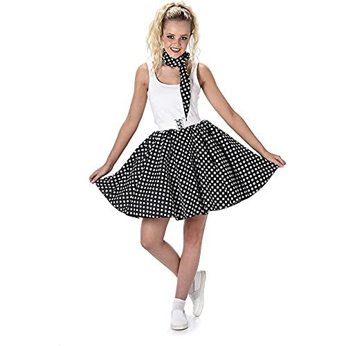 Karnival Costumes-50's Polka Dot Skirt & Necktie Déguisement, Women, 81097, Noir, Moyen
