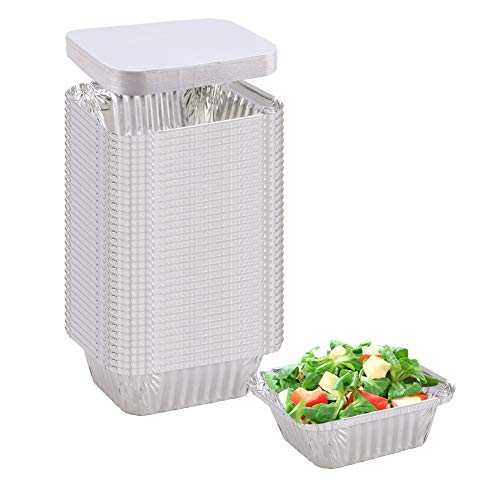 "Aluminum Pans (50-Pack) - Aluminum Rectangular Foil Pans Table Deep Pans, with Board Lids, (Outer Size: 5.7"" x 4.72"" x 1.77"", Inner Szie: 4.3"" x 3.34"")"