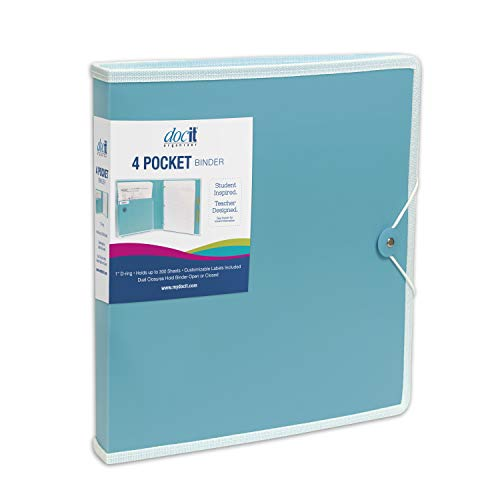 DocIt 4 Pocket Binder, Multi Pocket Folder and 1-inch 3 Ring Binder, Perfect for School, Office and Project Organization, Holds 300 Letter Size Papers, Blue (00939-BL)
