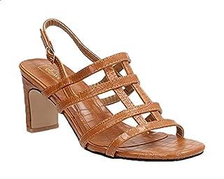 Dejavu Faux-Leather Cut-out Strap Buckle Closure Heel Sandals For Women