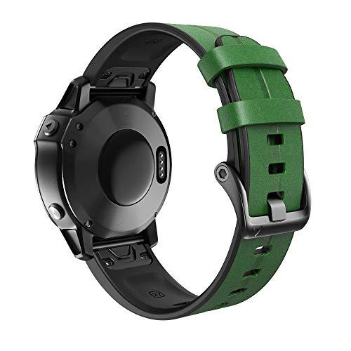 ANBEST Braccialetti Erano Realizzati in Silicone e Cuoio Compatibile con Fenix 6/Fenix 5/Fenix 6 Pro/Fenix 5 Plus Cinturino di Ricambio a Sgancio Rapido per Forerunner 945/935 Smartwatch