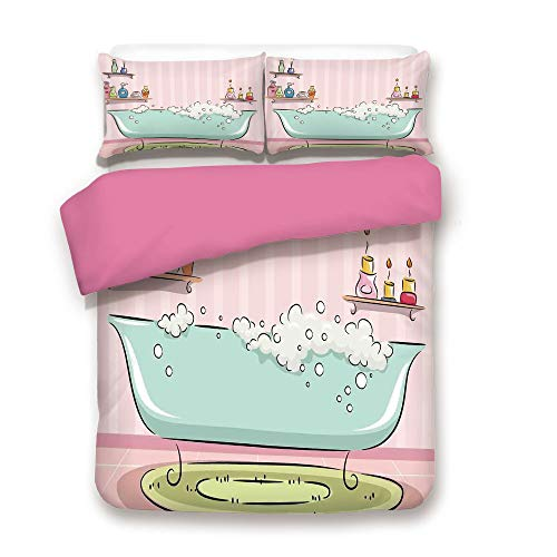 Teens Girls Duvet Cover Set Illustration of a Bathtub with Bubbles in Girly Room Aroma Oil Aromatherapy Bedding Set with 2 Pillow case Twin,Best Gift For Girls Mom Girlfriend Daughter Pink and Blue