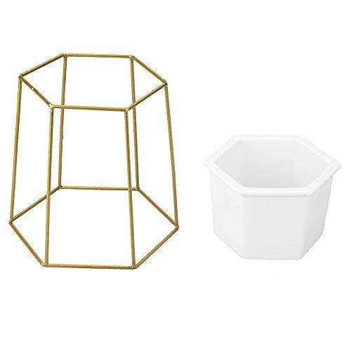 Keramische bloempot plantenpot met metaal, geometrische plantenstandaard voor thuis of op kantoor goud