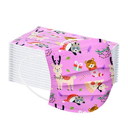 Kangrunmy 50 Piezas Niños Protección Navidad Desechable para Impresión linda 3 Capas Transpirables con Elástico...