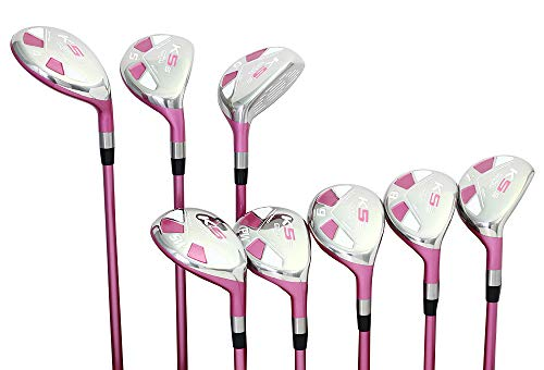 Majek Pink Senior Ladies Golf Hybrids Irons Set New Senior Women Best All True Hybrid Ultra Light Weight Forgiving Fuchsia Woman Complete Package Includes 4 5 6 7 8 9 PW SW All Lady Flex Utility Clubs