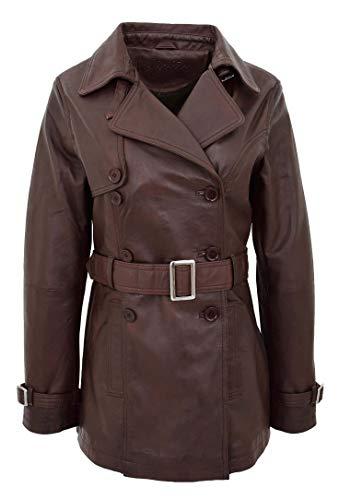 HOL Damen Echtes Leder Zweireiher Jacke Graben Reefer Mantel Sienna Braun (XL - 42)