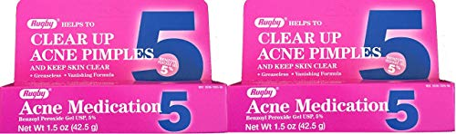 Benzoyl Peroxide 5% Generic for Oxy Balance Acne Medication Gel for Treatment and Prevention of Acne Pimples, Acne Blemishes, Blackheads or Whiteheads. 1.5 oz. per Tube Pack 2 Total 3 oz.