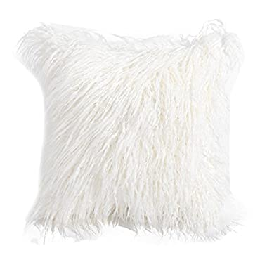 Pillow Covers Decorative 18x18, Wakeu Super Soft Plush Faux Fur Throw Cushion Case Cover (White)