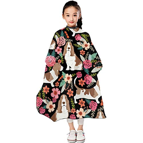 Basset Hound Flowers Florals Spring Cute Flowers Vintage Floral Print Dogs Basset Hound Kids Haircut Barber Cape for Hair Cutting Professional Home Salon Hairdressing Smock Cover