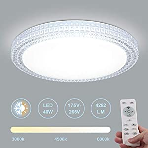 LED Ceiling Light, 40W Round LED Ceiling Lamp 3000K -6000K 4282LM Dimmable Remote Control Perfect for Living Room,Bedroom Room,Dining Room