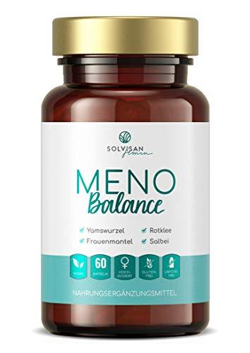 SOLVISAN MENO Balance für die Wechseljahre - mit Yamswurzel, Rotklee, Salbei und Mönchspfeffer hochdosiert - 60 Kapseln
