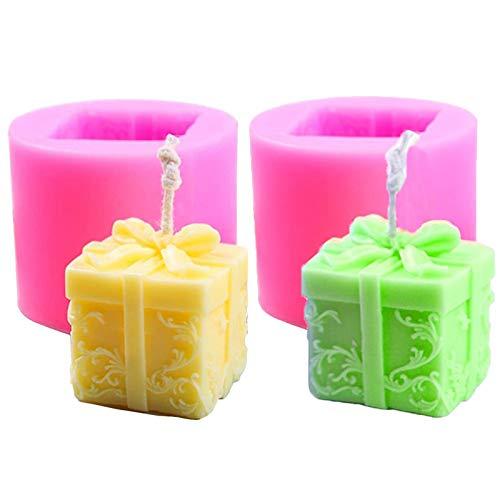 LIMEOW DIY Kerzenherstellung Mold Blume Box Silikon Formen 2 Stücke Seifengießform 3D Kerzenform Silikon Für Aroma 3D Box Silikon Form für Seife Kerze Schokolade, Süßigkeiten und Handwerk andere DIY