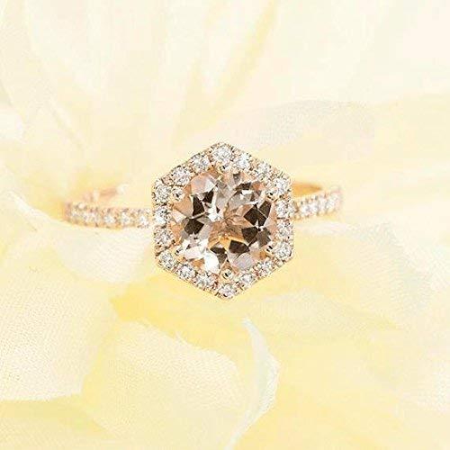 Solid Gold Engagement Ring - Morganite Engagement Ring - Hexagon Morganite Ring - 0.28Ct. Natural Morganite (0.28 Ct Pink Diamond)
