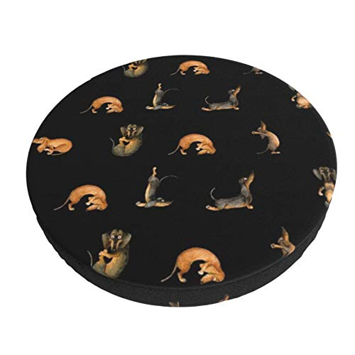 Round Bar Stools Cover,Yoga Dackel Doxie Inga SMG Hund Schwarz,Stretch Chair Seat Bar Stool Cover Seat Cushion Slipcovers Chair Cushion Cover Round Lift Chair Stool