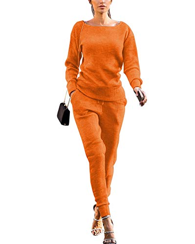Remxi Womens 2 Piece Outfits Fall Knit Pullover Sweater Top+Long Bodycon Pants Tracksuit Set Orange Large