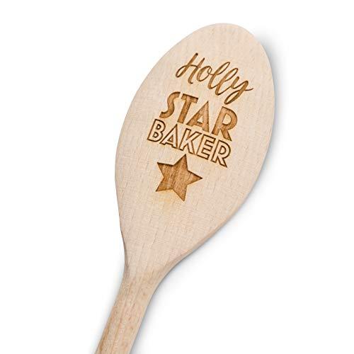 Star Baker Personalised Engraved Wooden Spoon 30cm Novelty Gift Laser Engraved