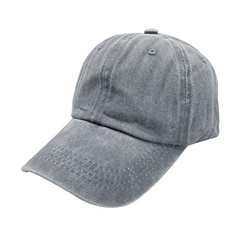 Waldeal Boys' Adjustable Plain Baseball Cap Vintage Washed Cotton Custom Dad Hat Grey