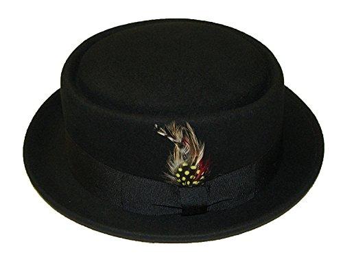 Wollhut/Filzhut, Unisex, faltbar,Pork Pie/Trilby, mit abnehmbarer Feder und passendem Band, 100%Wolle, von Hand gefertigt, schwarz - schwarz - Größe: S