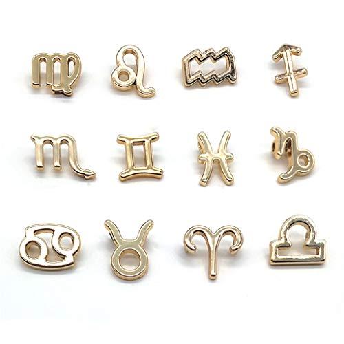 Nangjiang 12 colgantes de signo del zodiaco mezclados redondos de la suerte, 12 enlaces de constelación conectores para manualidades de joyería