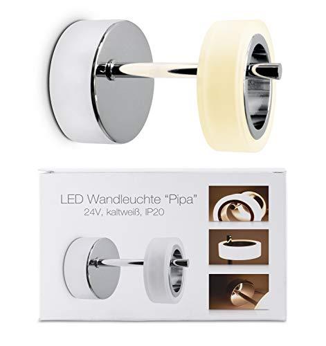 Lampe LED « Pipa » - Type : applique murale, lampe murale avec socle chromé - Lumière chaude (blanc chaud 3000 K) - 4 W - Look moderne - Idéale comme lampe de salon, couloir et lampe de lit.