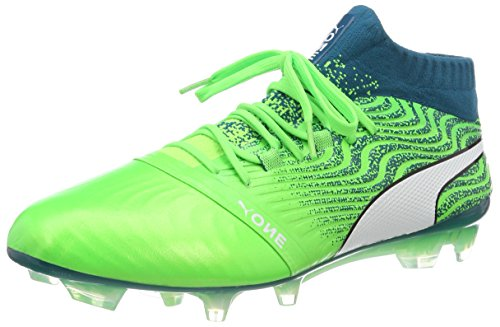 Puma Herren ONE 18.1 FG Fußballschuhe, Grün (Green Gecko White-Deep Lagoon 06), 42 EU