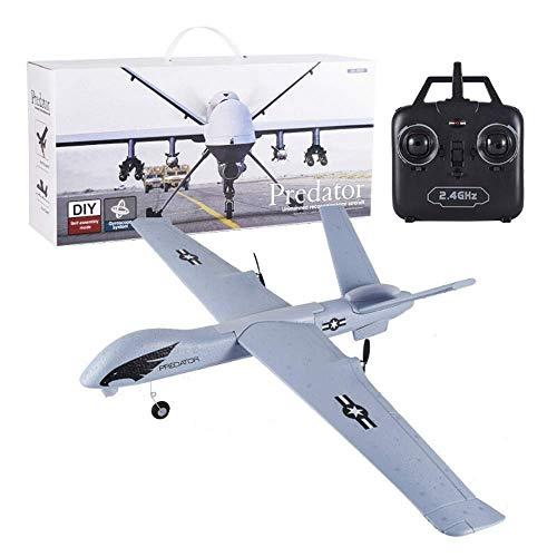 YQTXDS Planeador de avión con Control Remoto de 2.4G 6 CH RC, Planeador eléctrico de ala Fija EPP de Bricolaje con Espuma RTF Construido (Juguetes RC)