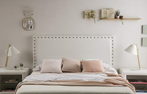 Cabeceros Cama 150 Blanco Con Tachuelas cabeceros cama 150  Marca Dugarhome