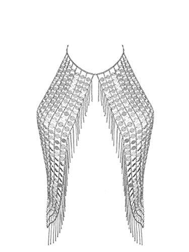 BlueSpace - Collar-bikini, cadena para mujer que funciona también como la parte de arriba del bikini, sexy, cadena de sujetador, accesorios de verano para playa, fiesta, piscina
