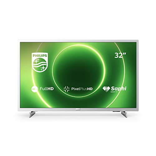 Philips 32PFS6855/12 Televisor de 32 Pulgadas (Fulll HD TV, Pixel Plus HD, Saphi Smart TV, Altavoces de Rango Completo, 3 x HDMI, 2 x USB, Óptimo para Gaming), Color Plata Claro (Modelo de 2020/2021)