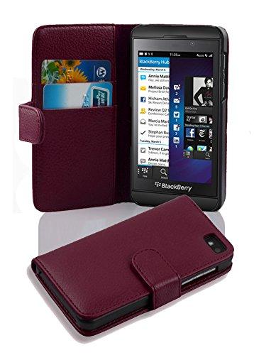 Cadorabo Hülle für BlackBerry Z10 - Hülle in Bordeaux LILA – Handyhülle mit Kartenfach aus struktriertem Kunstleder - Hülle Cover Schutzhülle Etui Tasche Book Klapp Style