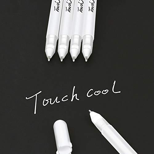 Euone_Home Gel Pens, 6Pcs White Gel Marker Fine Point Tip Gel Ink Pens for Illustration Design Black Paper Drawing Adult Coloring Book Archival Ink Sketching Pens