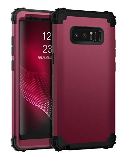 BENTOBEN Samsung Galaxy Note 8 Case, Note 8 Phone Case, 3 in 1 Heavy Duty Hybrid Hard PC Soft Silicone Bumper Shockproof Anti Slip Protective Cases for Samsung Galaxy Note 8 (2017 Release), Wine Red