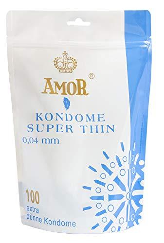 """AMOR \""""Super Thin 0,04mm\"""" 100er Pack Markenkondome im Standbodenbeutel, für pures Gefühl, hauchzart und feucht"""