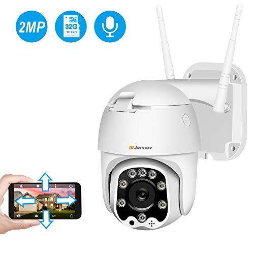 Jennov Überwachungskamera Aussen Innen HD 1080P Nachtsicht IP Dome Kamera Zwei-Wege Audio IP66 Wasserdicht 3,6 mm Objektiv Videoüberwachung Vorinstallierte 32G SD Karte mit Kostenloser App …