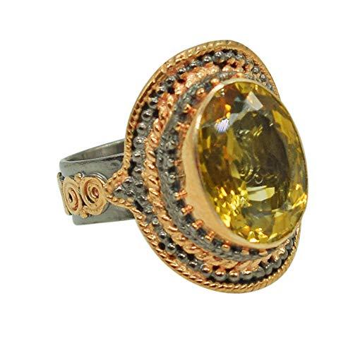 Exklusiver Ring Champagner Quarz Edelstein Verstellbarer Ring Rose Gold Plattiert Silber Ring Geschenk für Sie Damen Ring Bohemian Schmuck FSJ-4181