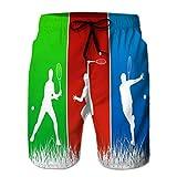Xunulyn Shorts de Playa para Hombre con Bolsillos Jugadores de Tenis de Secado rápido Deportes Acuarela