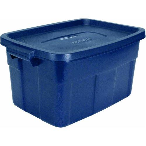 RUBBERMAID Roughneck Tote Container, Dark Indigo Metallic, 14-Gallon